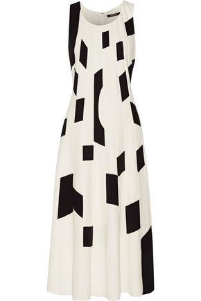 DEREK LAM Two-tone textured-crepe midi dress