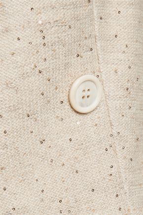 BRUNELLO CUCINELLI Sequin-embellished linen-blend jacket