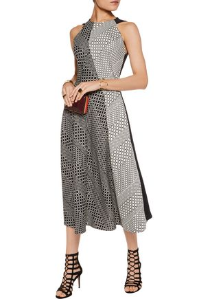 ROLAND MOURET Baldry cutout jacquard and crepe midi dress