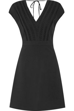 SANDRO Radical honecomb mesh paneled woven mini dress