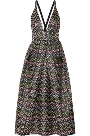MILLY Pleated metallic cloqué-brocade midi dress