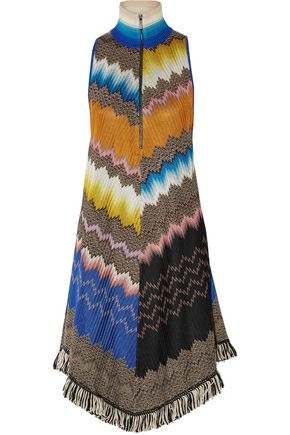 MISSONI Fringe-trimmed crochet-knit dress