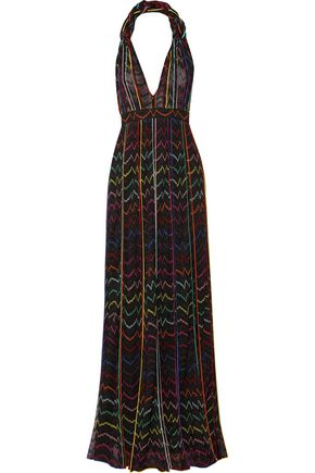 MISSONI Pleated metallic crochet-knit halterneck maxi dress