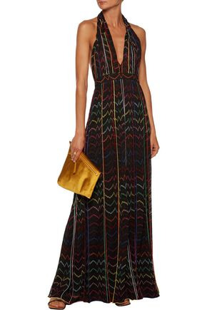 MISSONI Halterneck metallic fine-knit maxi dress