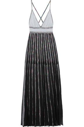 MISSONI Open-back metallic crochet-knit maxi dress