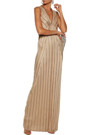 MISSONI Pintucked metallic crochet-knit maxi dress