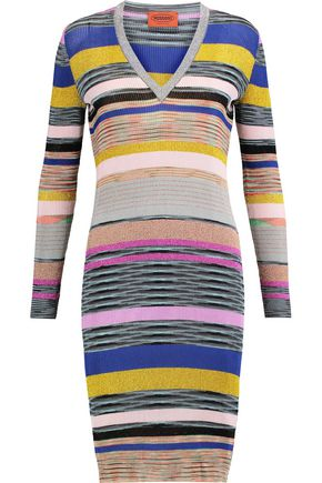 MISSONI Ribbed striped metallic stretch-knit dress