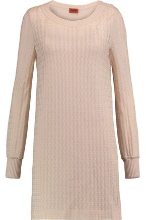 MISSONI Metallic crochet-knit wool-blend mini dress