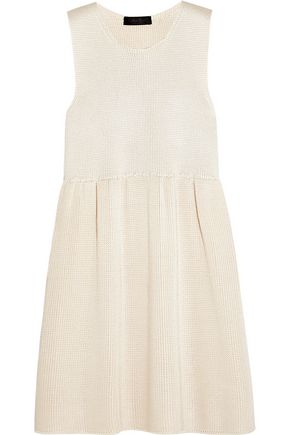 Tilly pleated ribbed silk mini dress