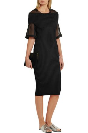 CALVIN KLEIN COLLECTION Walter off-the-shoulder ribbed-knit dress