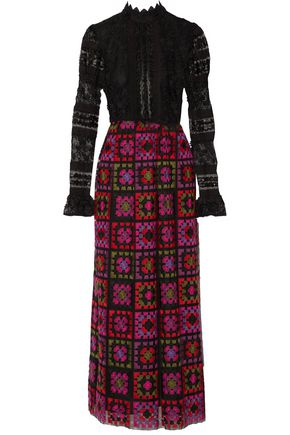 ANNA SUI Embroidered tulle maxi dress