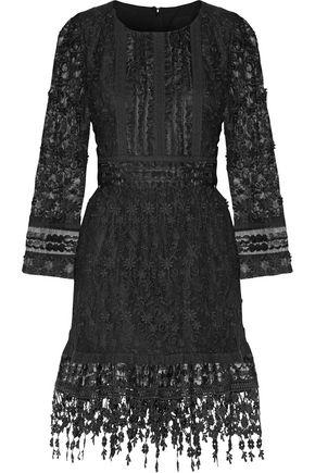ANNA SUI Ruffled floral-appliquéd tulle and faux leather-appliquéd organza mini dress