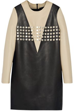 Elvina studded two-tone leather dress