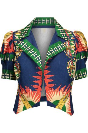 ANNA SUI New York, New York cropped printed jacquard jacket