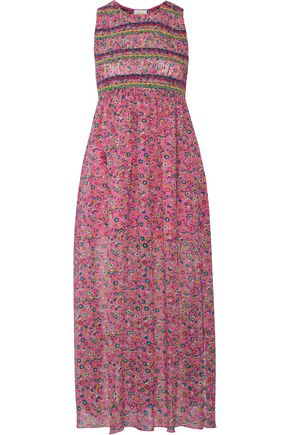 ANNA SUI Smocked printed silk-georgette midi dress