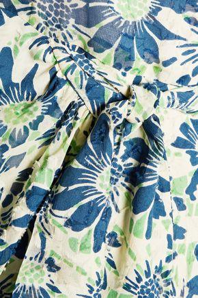 ANNA SUI Daisies & Birds wrap-effect floral-print fil coupé silk-chiffon halterneck mini dress