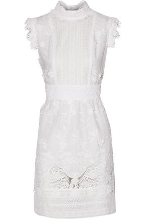 ANNA SUI Crocheted silk lace-trimmed broderie anglaise cotton mini dress
