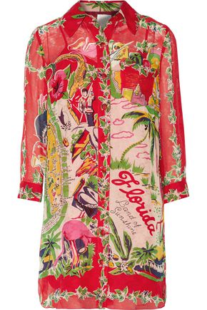 ANNA SUI Florida: Land of Sunshine printed silk-chiffon jacquard mini dress
