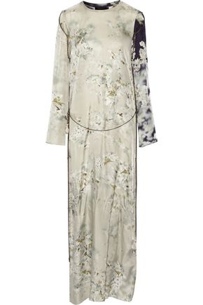 CALVIN KLEIN COLLECTION Gilliam chain-embellished printed satin-twill maxi dress
