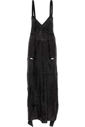 CALVIN KLEIN COLLECTION Garter cutout sequined tulle midi dress
