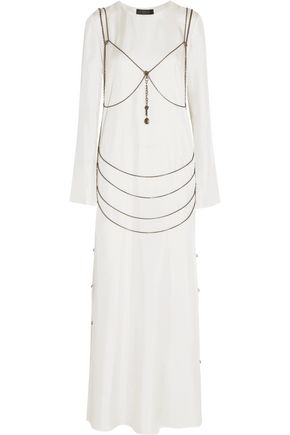 CALVIN KLEIN COLLECTION Goselin chain-embellished silk-twill gown