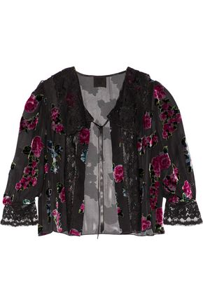 ANNA SUI Lace-paneled gathered flocked chiffon jacket