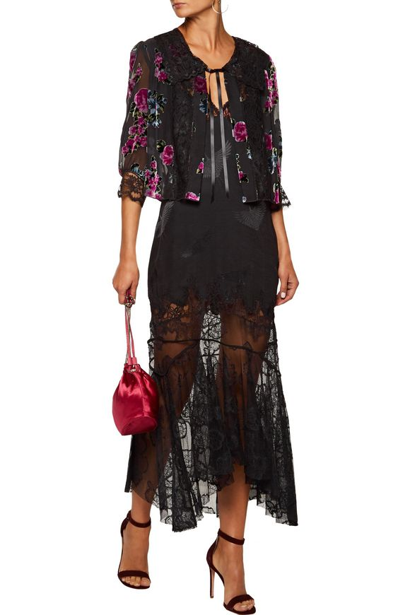 Lace-paneled gathered flocked chiffon jacket | ANNA SUI | Sale up to 70% off  | THE OUTNET
