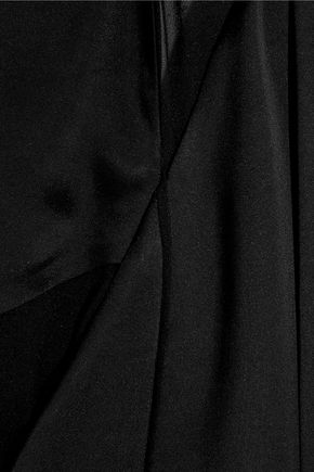 CALVIN KLEIN COLLECTION Miranda chiffon-paneled silk-blend satin gown
