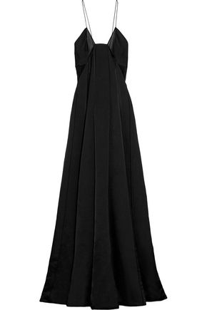 CALVIN KLEIN COLLECTION Miranda chiffon-paneled silk-blend satin gown