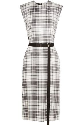 CALVIN KLEIN COLLECTION Checked silk crepe de chine dress