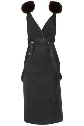 CALVIN KLEIN COLLECTION Justine faux fur-paneled twill midi dress