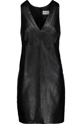 MILLY Leather mini dress