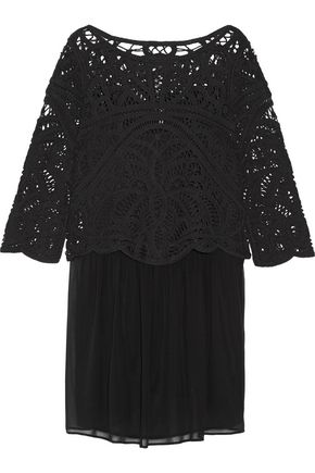 JOIE Layered cotton-macramé and silk-chiffon mini dress