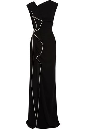 VIONNET Ruffle-trimmed stretch-knit gown