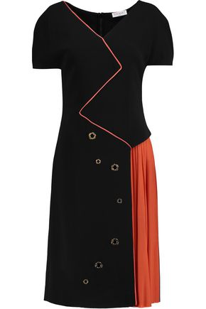 VIONNET Two-tone cady and pleated crepe dress