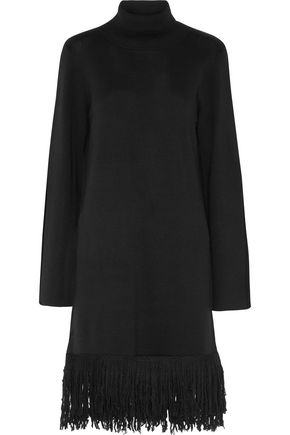IRIS AND INK Valentina fringed wool-blend sweater dress