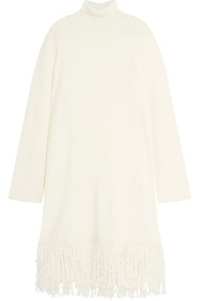 Valentina fringed wool-blend sweater dress
