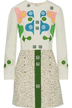 PETER PILOTTO Embellished embroidered paneled crepe and jacquard dress