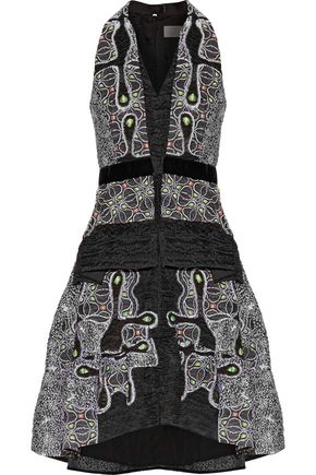 PETER PILOTTO Velvet-trimmed pleated metallic cloqué dress