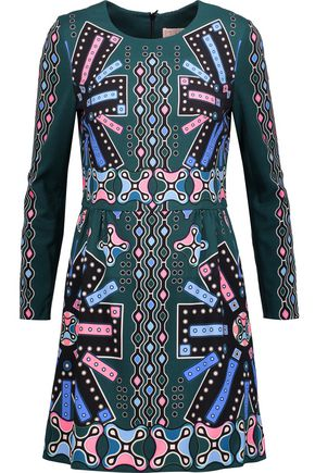 PETER PILOTTO Pleated printed crepe mini dress