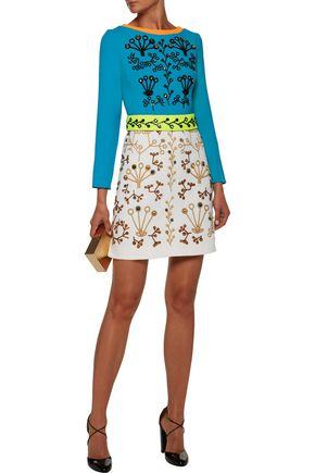PETER PILOTTO Crystal-embellished embroidered wool-crepe mini dress