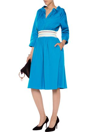 PETER PILOTTO Elasticated embroidered cotton-blend dress