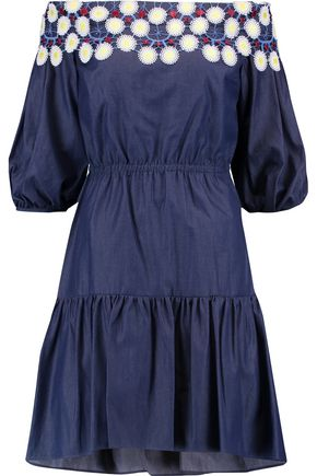 PETER PILOTTO Pallas off-the-shoulder embroidered cotton-chambray dress