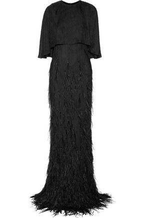 JASON WU Sequin and feather-embellished georgette gown