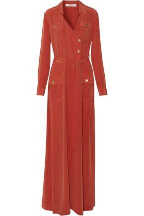 PIERRE BALMAIN Wrap-effect layered washed-silk maxi dress