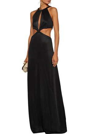 PIERRE BALMAIN Cutout stretch-knit maxi dress