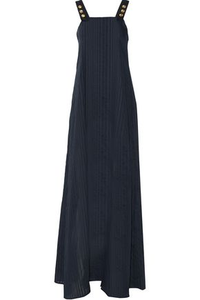 PIERRE BALMAIN Striped cotton-gauze midi dress
