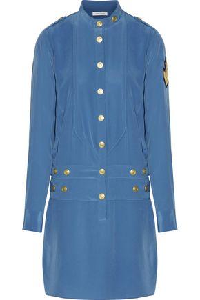 PIERRE BALMAIN Appliquéd washed-silk mini dress