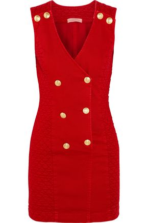 PIERRE BALMAIN Double-breasted quilted corduroy mini dress
