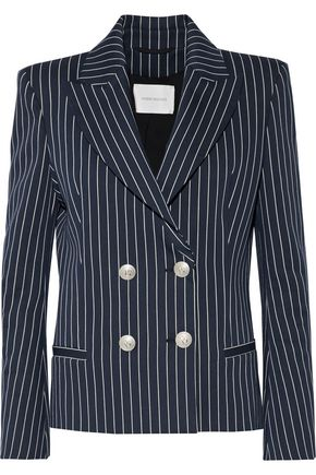 PIERRE BALMAIN Double-breasted striped cotton-blend blazer